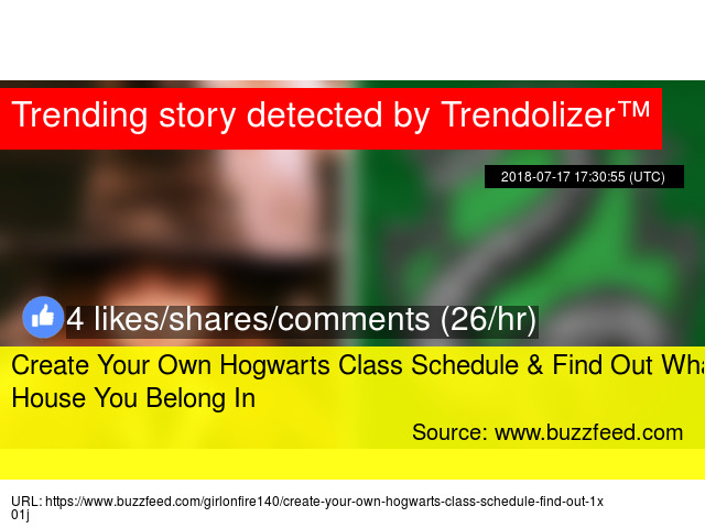 Create Your Own Hogwarts Class Schedule Find Out What House
